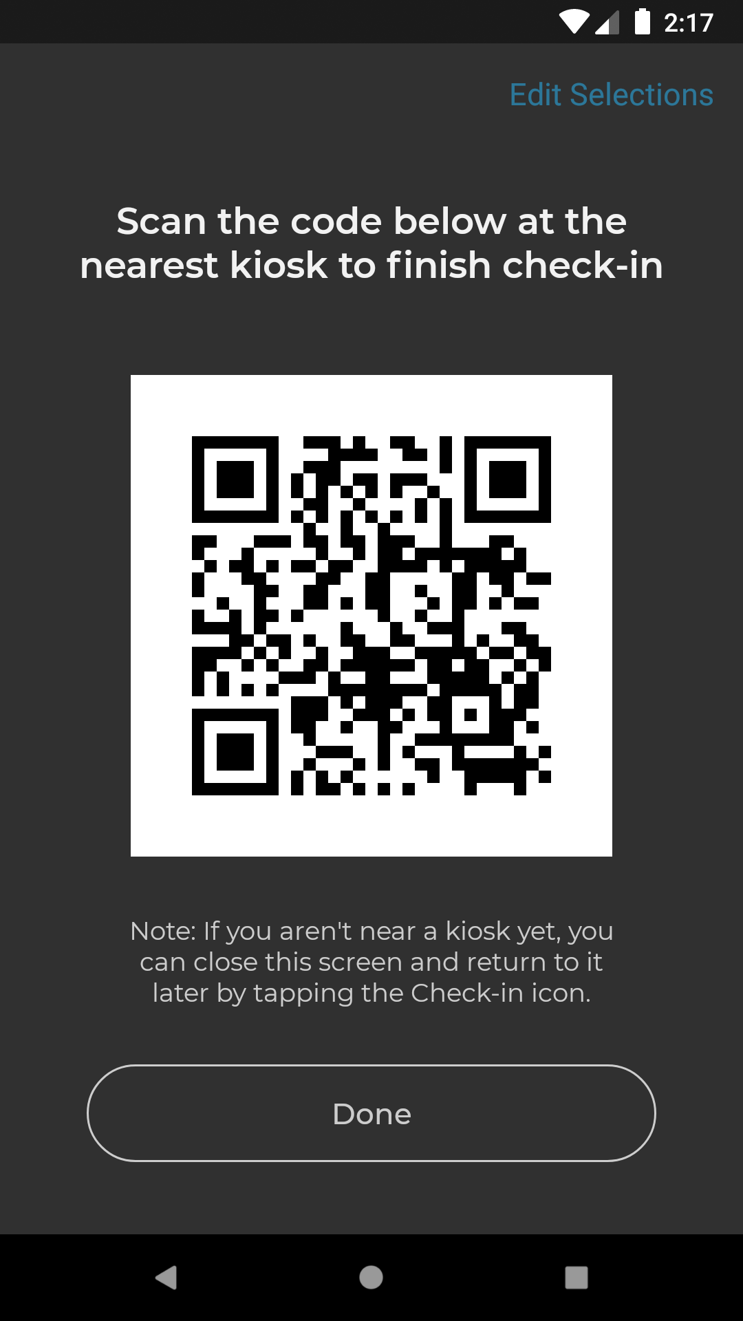 check-in QR code created