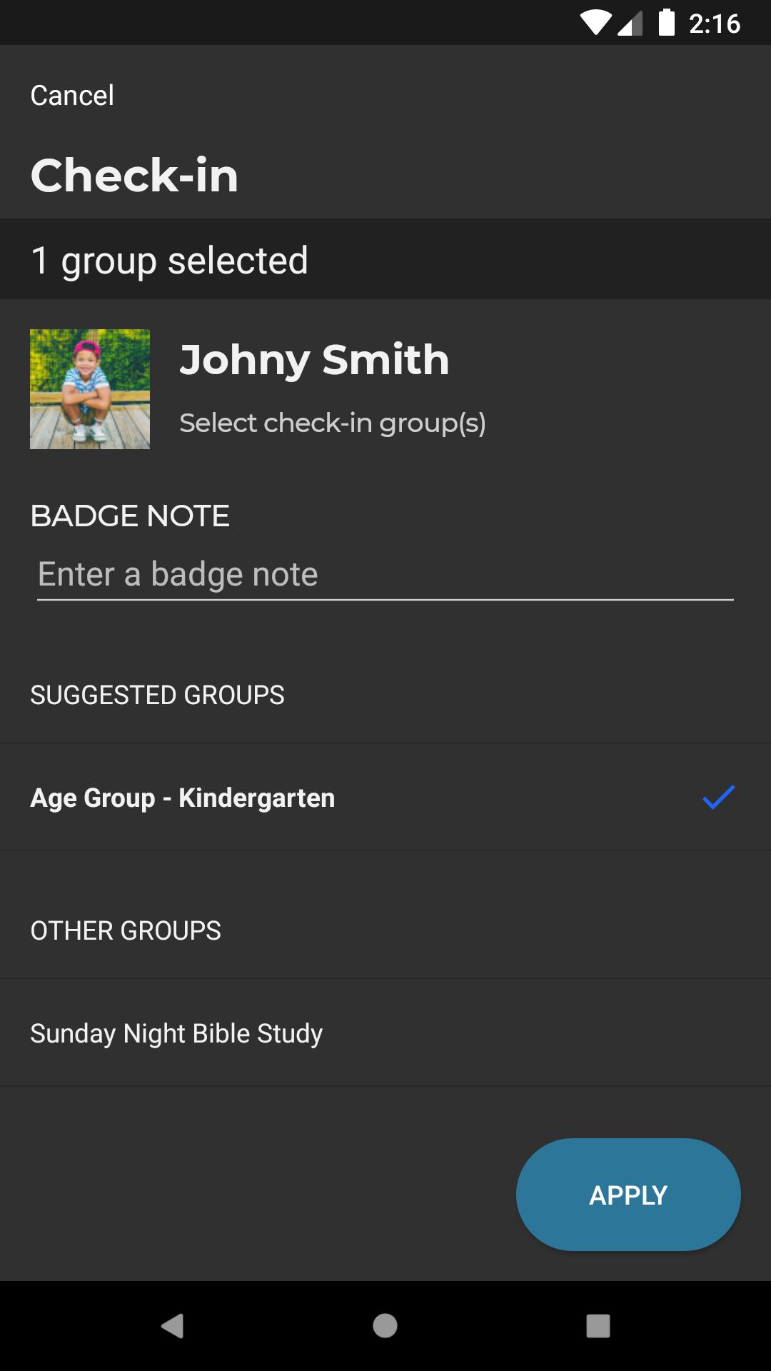 check-in family member
