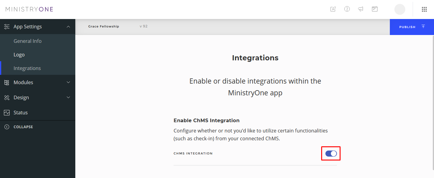 enable the ChMS integration