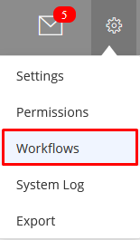 location of the workflow menu